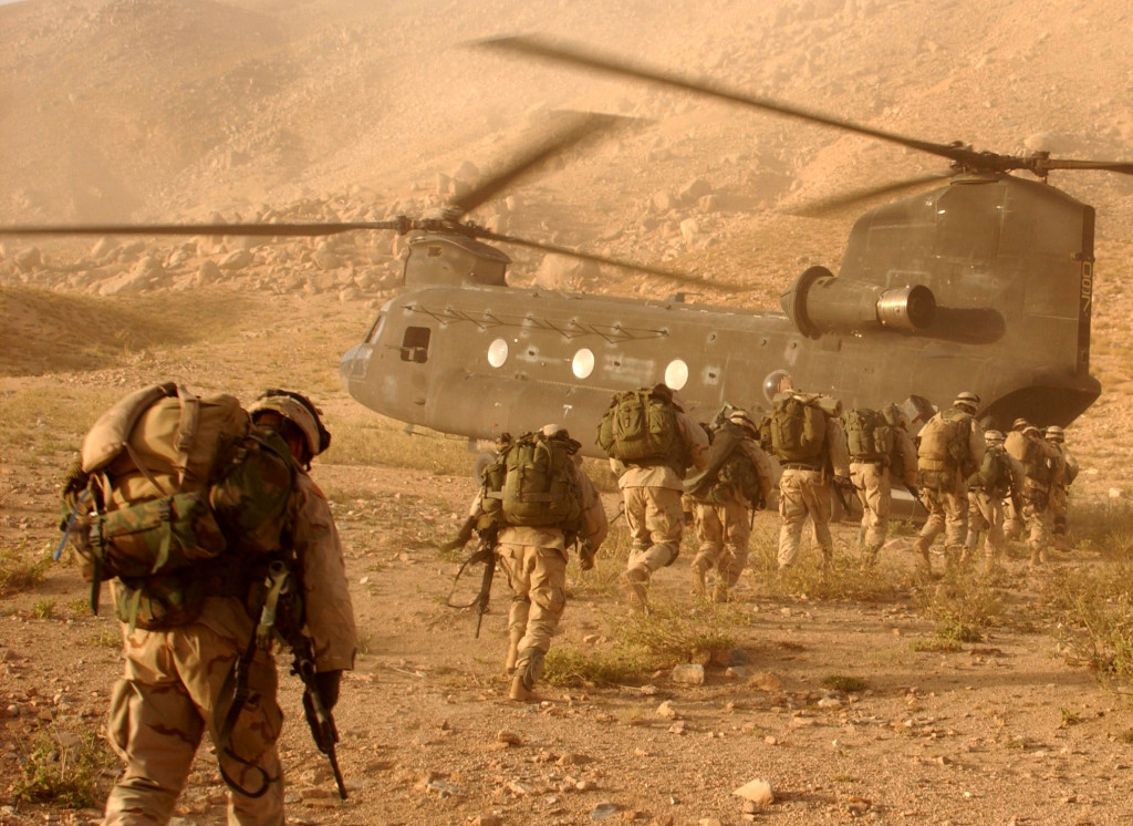 Operation Mountain Viper put the soldiers of A Company, 2nd Battalion 22nd Infantry Division, 10th Mountain in the Afghanistan province of Daychopan to search for Taliban and or weapon caches that could be used against U.S. and allied forces. Soldiers quickly walk to the ramp of the CH-47 Chinook cargo helicopter that will return them to Kandahar Army Air Field.  (U.S. Army photo by Staff Sgt. Kyle Davis) (Released)