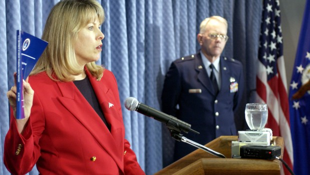US_Air_Force_(USAF)_General_Counsel_Mary_L._Walker,_holds_a_copy_of_the_report_on_the_US_Air_Force_Academy_(USAFA)_sexual_misconduct_study_released_June_19th_during_a_Pentagon_press_briefing_030619-F-FC975-085