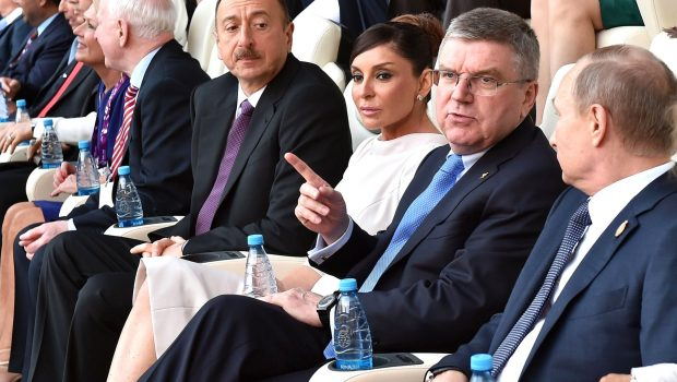 Azerbaijan President Ilham Aliyev and his wife (and now vice president), Mehriban Aliyeva (C), at the opening ceremonies of the 2015 European Games in Baku