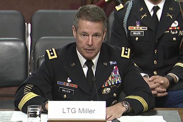 Army Lt. Gen. Austin S. Miller testifying before the Senate Armed Services Committee