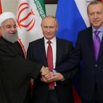 Hassan Rouhani of Iran, Vladimir Putin of Russia, and Recep Tayyip Erdogan of Turkey
