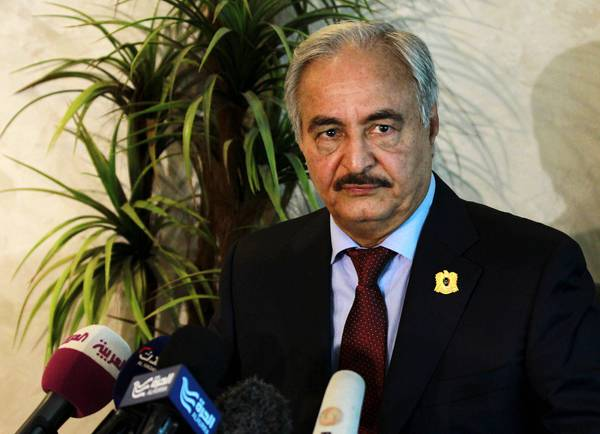 General Khalifa Haftar speaks during a press conference in Amman, Jordan, 24 August 2015.       ANSA /JAMAL NASRALLAH