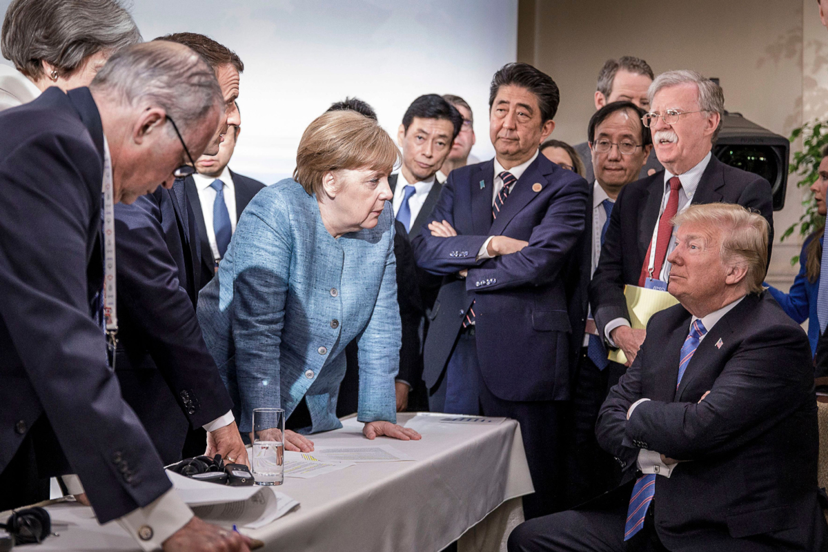 Angela Merkel, Donald Trump, and other world leaders at the G-7 Meeting (Jesco Denzel)