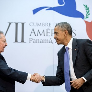 """April 11, 2015 """"The culmination of years of talks resulted in this handshake between the President and Cuban President Raúl Castro during the Summit of the Americas in Panama City, Panama."""" (Official White House Photo by Pete Souza) This official White House photograph is being made available only for publication by news organizations and/or for personal use printing by the subject(s) of the photograph. The photograph may not be manipulated in any way and may not be used in commercial or political materials, advertisements, emails, products, promotions that in any way suggests approval or endorsement of the President, the First Family, or the White House."""