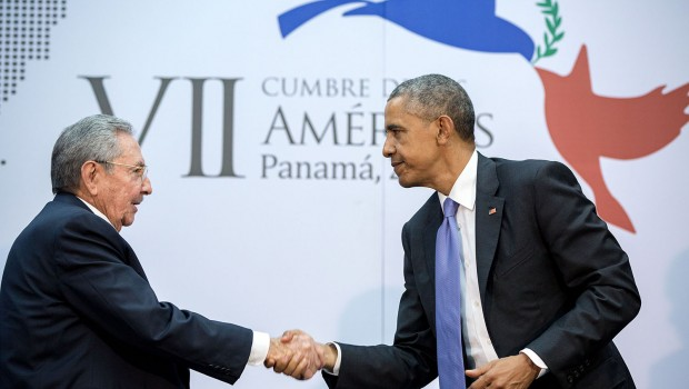"April 11, 2015 ""The culmination of years of talks resulted in this handshake between the President and Cuban President Raúl Castro during the Summit of the Americas in Panama City, Panama."" (Official White House Photo by Pete Souza) This official White House photograph is being made available only for publication by news organizations and/or for personal use printing by the subject(s) of the photograph. The photograph may not be manipulated in any way and may not be used in commercial or political materials, advertisements, emails, products, promotions that in any way suggests approval or endorsement of the President, the First Family, or the White House."