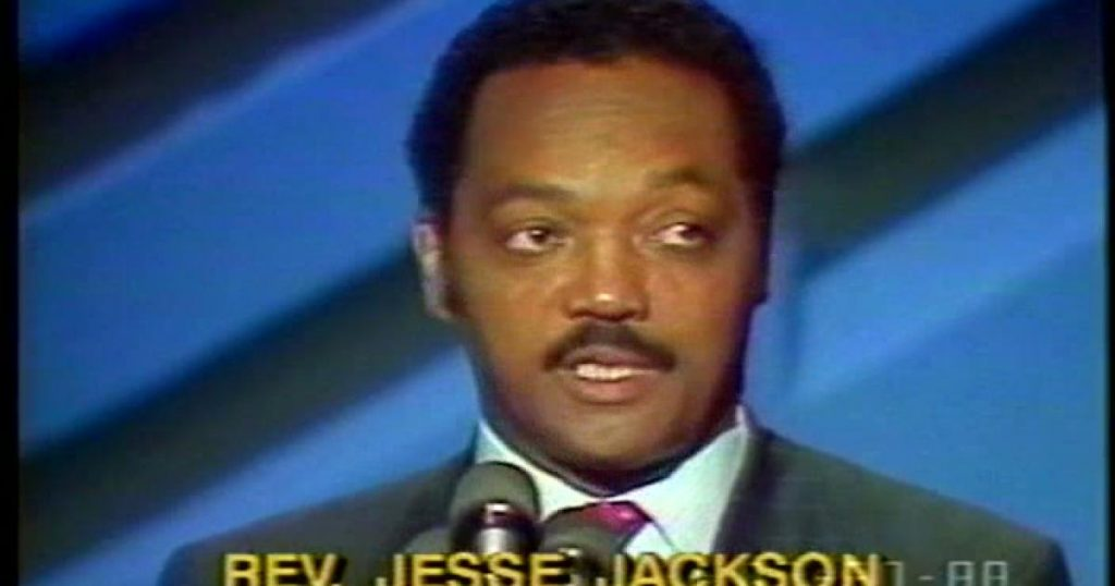 Jesse Jackson speaking at the 1988 Democratic Convention (C-SPAN)