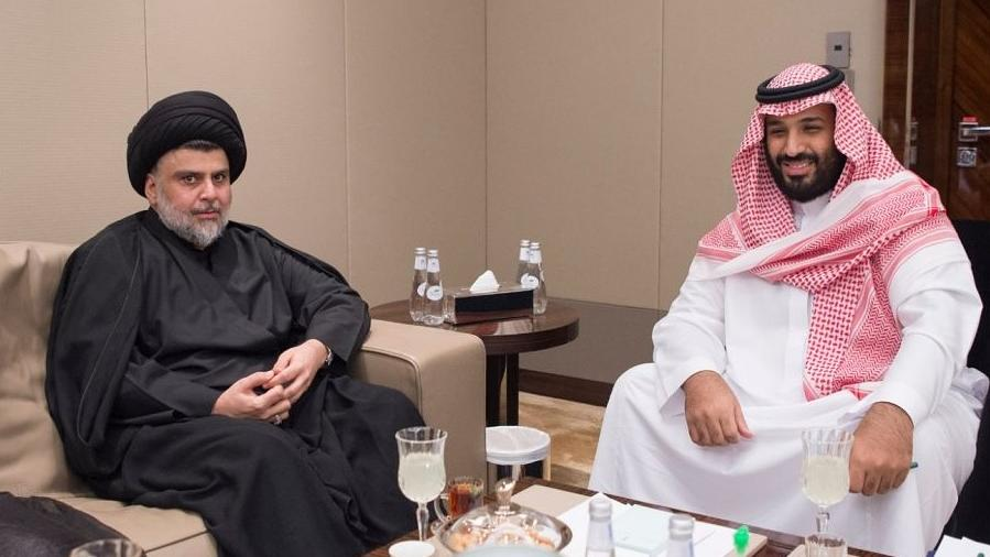 Iraqi cleric Moqtada Al Sadr with Saudi Arabia's Crown Prince Mohammed bin Salman (Saudi Press Agency)