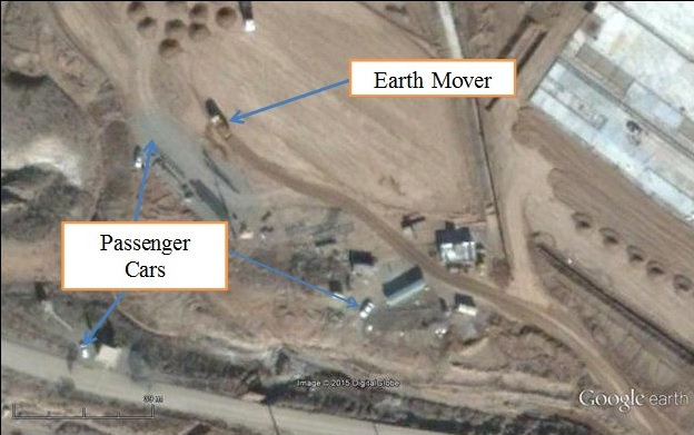 "The reader can compare the relative sizes of an earthmover (about 8 meters long) and a typical Parchin sedan (about 4 meters long) in this satellite image that was taken in January 2015 over a completely different part of the Parchin site. Thus, the object ISIS labeled an ""unidentified vehicle, possibly bulldozer or steamroller"" in its July 26 photo appears far too small to have been an earthmover of the kind used in at Parchin."