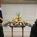 North Korea's titular head of state Kim Yong Nam and Iranian President Hassan Rouhani