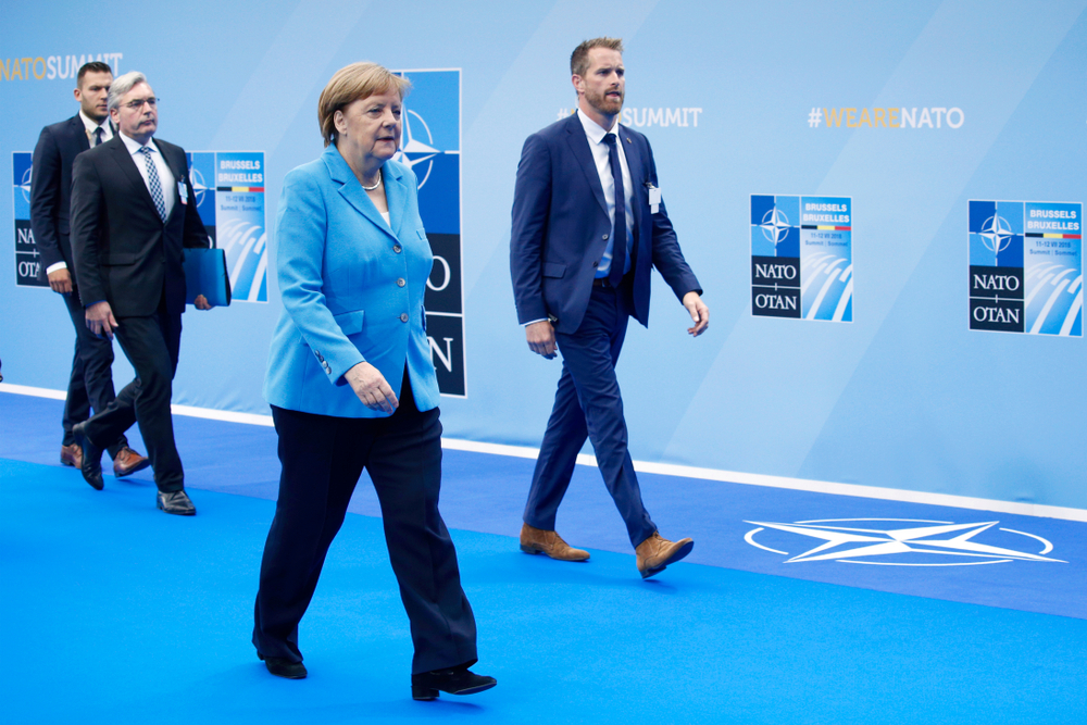 Angela Merkel at NATO summit (Alexandros Michailidis via Shutterstock)
