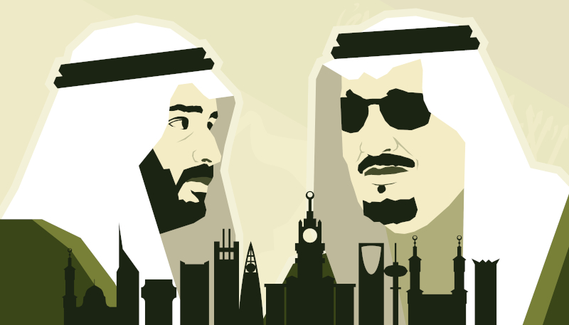 Crown Prince Mohammad bin Salman and King Salman (posterapy via Shutterstock)