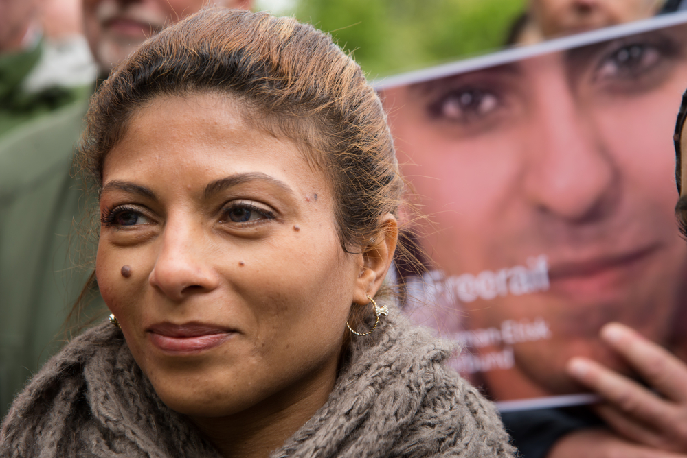 Ensaf Haidar, wife of imprisoned Saudi blogger Raif Badawi, protests in front of the Saudi Arabian embassy in Oslo, Norway, (Ryan Rodrick Beiler via Shutterstock)