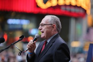 Alan Dershowitz speaking at a New York rally in 2015 against the proposed nuclear agreement with Iran (a katz via Shutterstock)