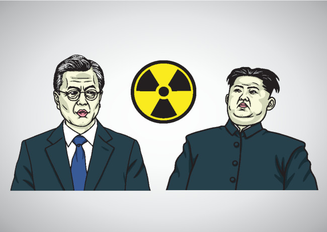 Moon Jae-in and Kim Jong Un (doamama via Shutterstock)