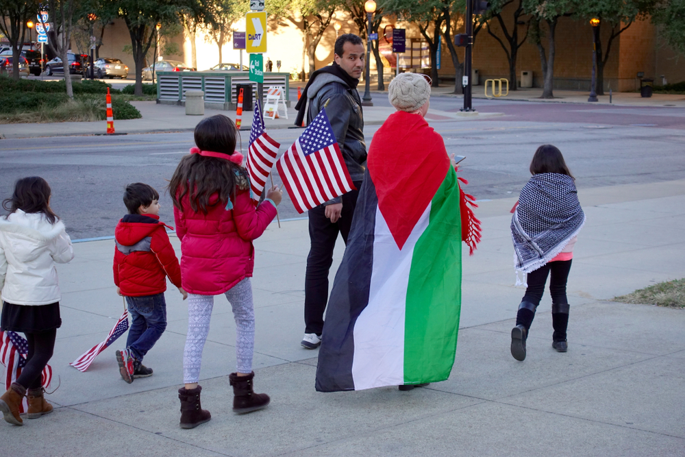 Palestinians in Dallas, Texas protest Trump's Jerusalem decision (Anthony Ricci via Shutterstock)