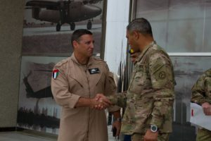 Maj. Gen. Stephen A. Toumajan shakes hands with Lt. Gen. Michael X. Garrett, the U.S. Army Central commanding general (U.S. Army photo by Sgt. Youtoy Martin).