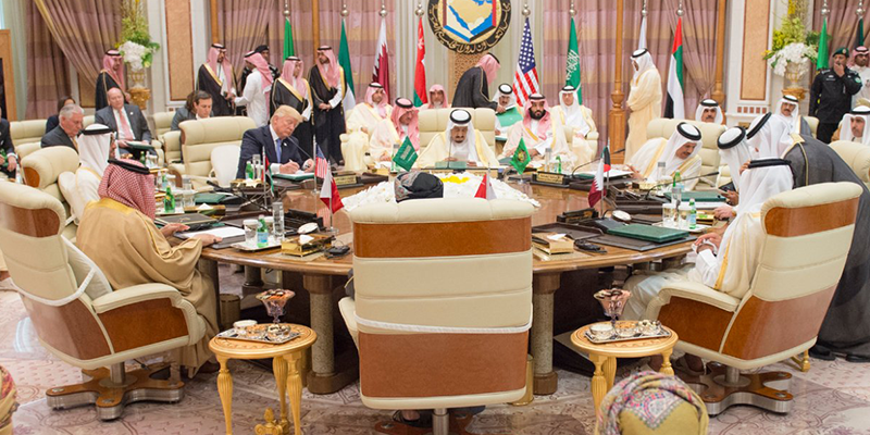 Donald Trump at the GCC roundtable in Saudi Arabia, May 2018.