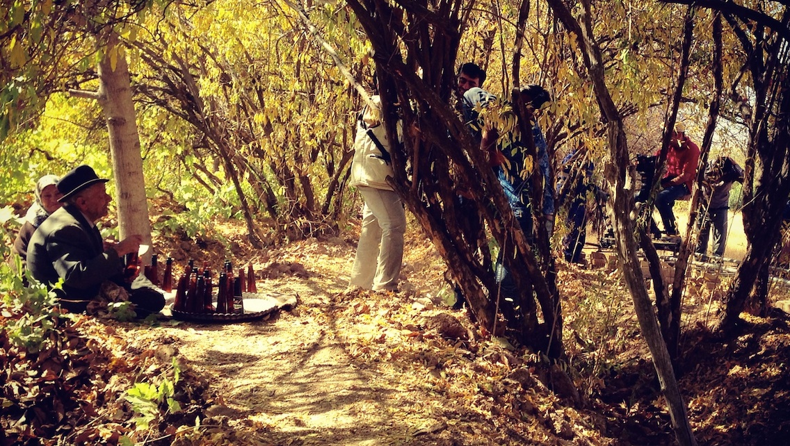 Filming a documentary in a vineyard near Pasargade.