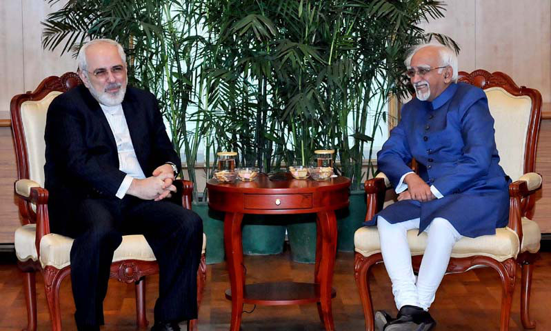 The Minister of Foreign Affairs of the Islamic Republic of Iran Mr. Mohammad Javad Zarif calling on the Vice President, Shri Mohd. Hamid Ansari, in New Delhi on February 28, 2014.