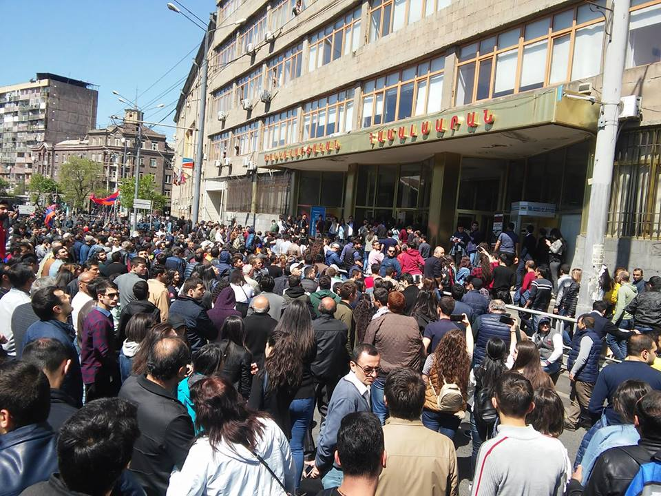 A crowd of protesters in Yerevan (Wikimedia Commons)